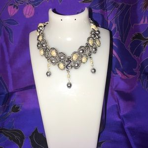 Beautiful pearl and textured metal necklace